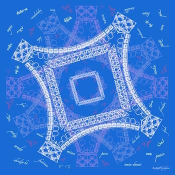 Foulard Soie Paris Paix Eiffel Made in France Fanfaron