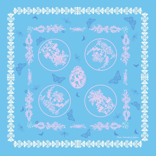 Foulard Marie Antoinette Fanfaron Made in France Carré de Soie Paris Dessin