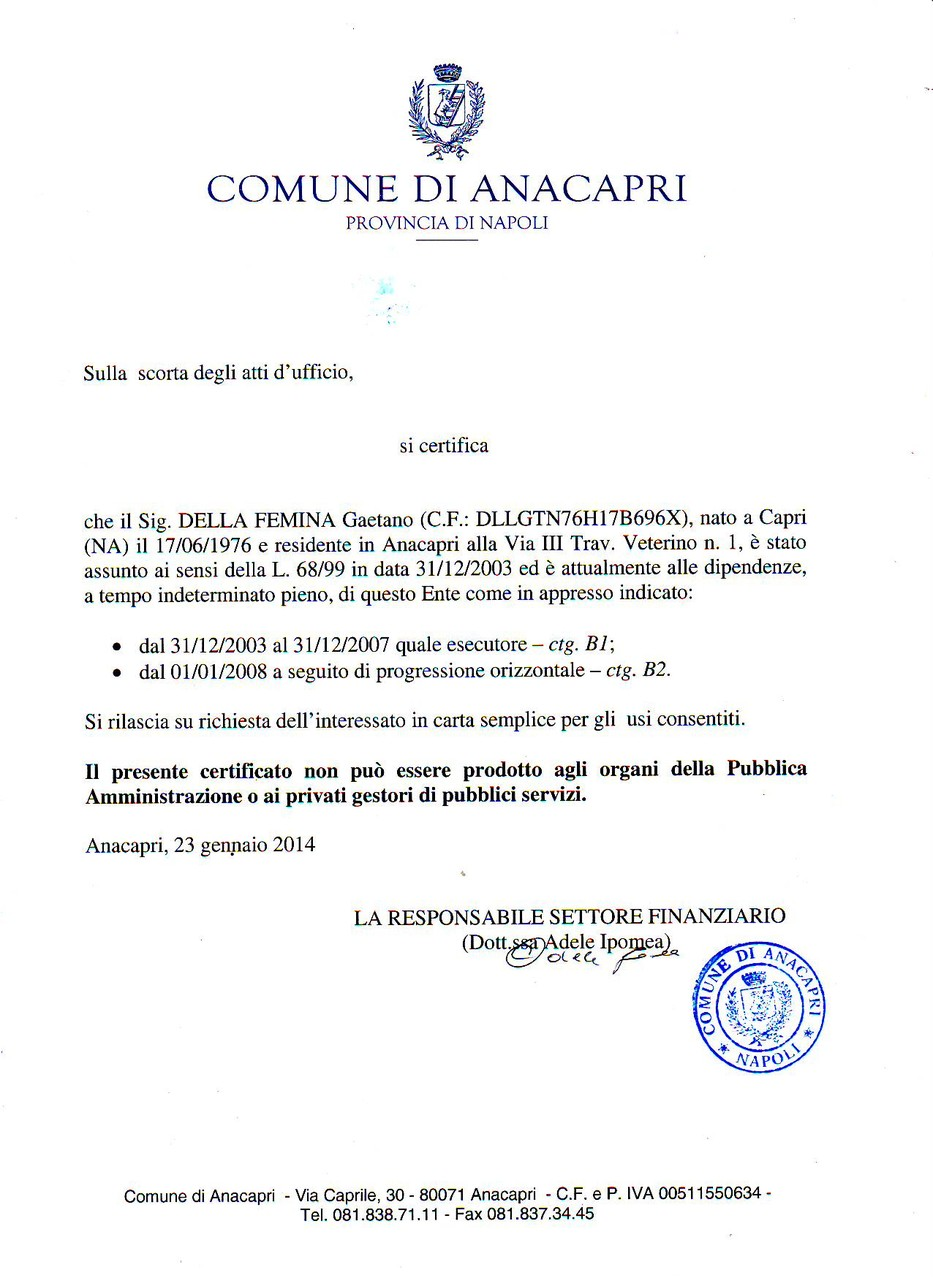 Letters of work at the Municipality of Anacapri