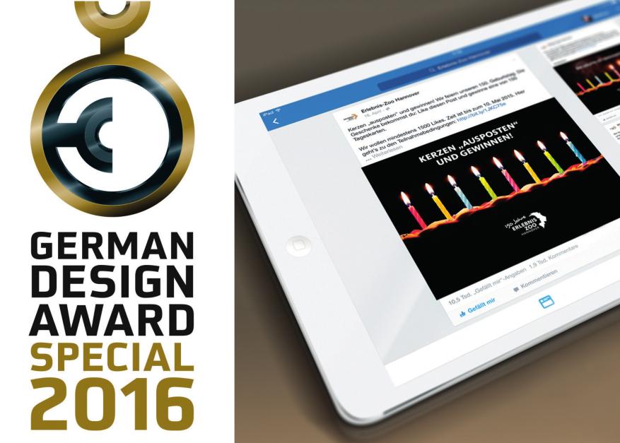 German Design Award 2016 | Special Mention | Facebook-Maßnahme »Kerzen ausposten« für den Erlebniszoo Hannover im Auftrag der Kochstrasse – Agentur für Marken GmbH