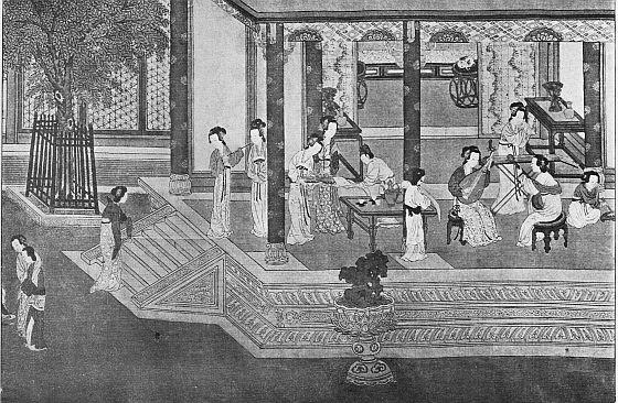 K'ieou Ying. XVe s. Le Printemps au Palais impérial de la dynastie des Han. Long. du rouleau : 459 cm., larg. 31 cm.