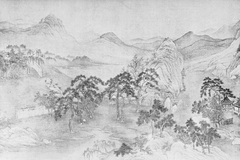 Paysage. Tchao Mong-fou. Extrait de : Laurence BINYON (1869-1943) : Painting in the Far East