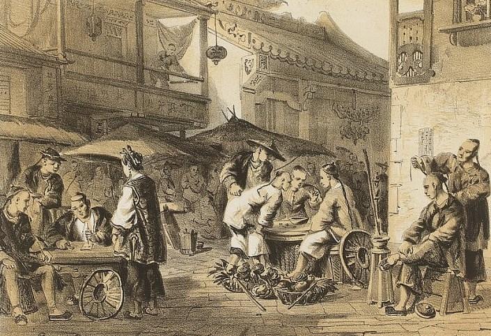 Rue et marché à Canton. Auguste Borget : Fragment d'un voyage autour du monde.