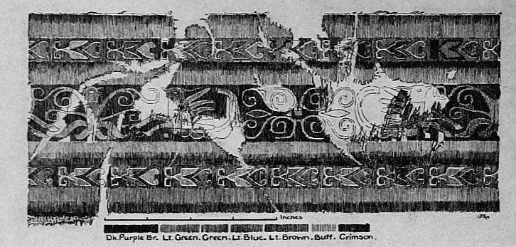 Planche I. — Fragment de kosseu attribué à l'époque Han. Vuilleumier. Tissus et tapisseries de soie dans la Chine ancienne