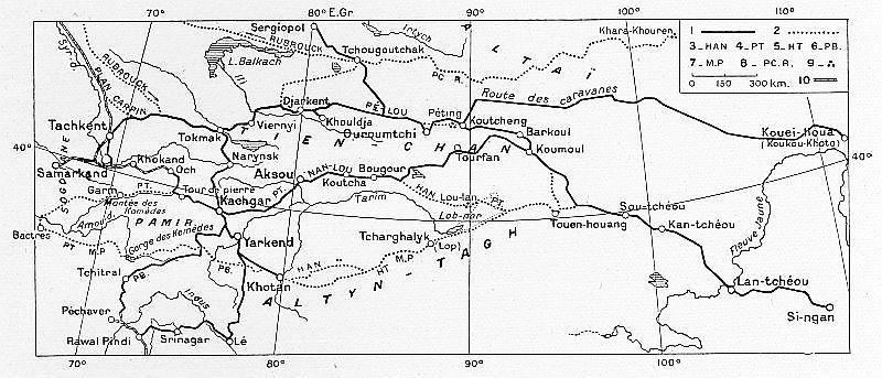 Routes du Turkestan et du Tibet. F. Grenard : Haute Asie. [Mongolie, Turkestan chinois, Tibet]. Deuxième partie du tome VIII de la Géographie Universelle. A. Colin, Paris, 1929.