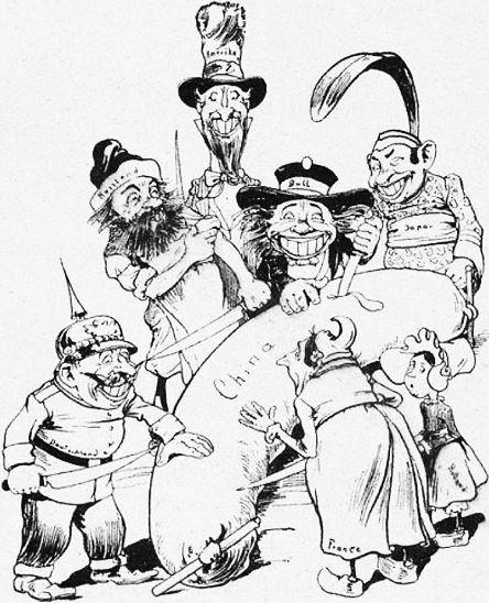 Le saucisson. John Grand-Carteret (1850-1927) : Chinois d'Europe et Chinois d'Asie. 175 images satiriques, pour servir à l'histoire des chinoiseries de la politique européenne de 1842 à 1900.