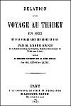 Nicolas-Michel KRICK (1819-1854). RELATION D'UN VOYAGE AU THIBET EN 1852 et d'un voyage chez les Abors en 1853. Vaton, Paris, 1854.