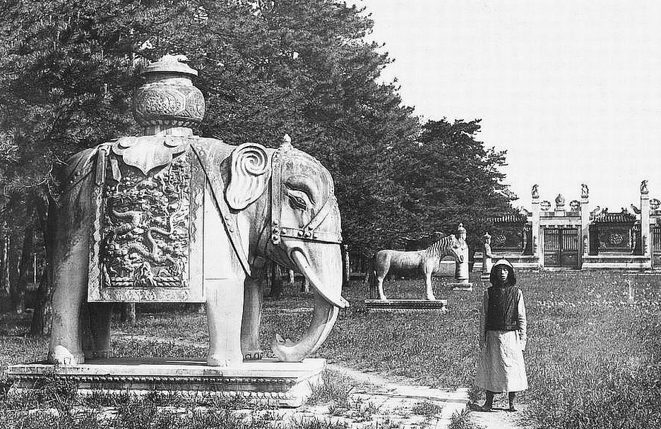 71. — Tombes impériales de Si-ling. Statues en marbre sur l'Avenue Sacrée conduisant au tombeau. L'éléphant.