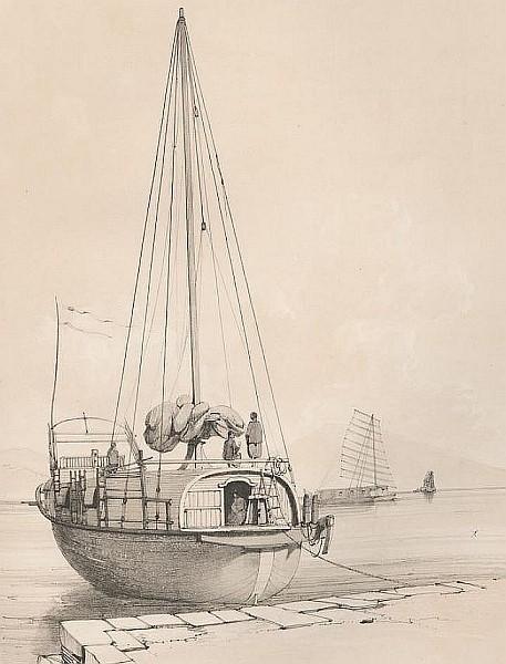 Bateau servant au transport du thé. François-Edmond PARIS (1806-1893) : Essai sur la construction navale des peuples extra-européens.  Arthus Bertrand, libraire, Paris, 1841.