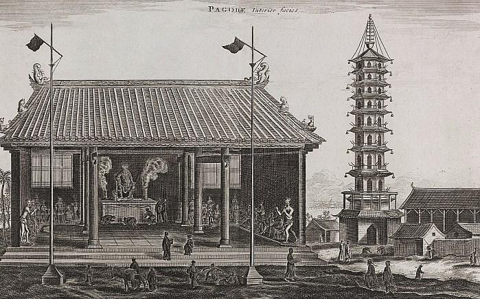 Pagode. Jean Nieuhoff (1618-1672) : L'ambassade de la Compagnie Orientale des Provinces Unies, vers l'empereur de la Chine. Jacob de Meurs, Leyde, 1665. 424 pages, 143 illustrations.