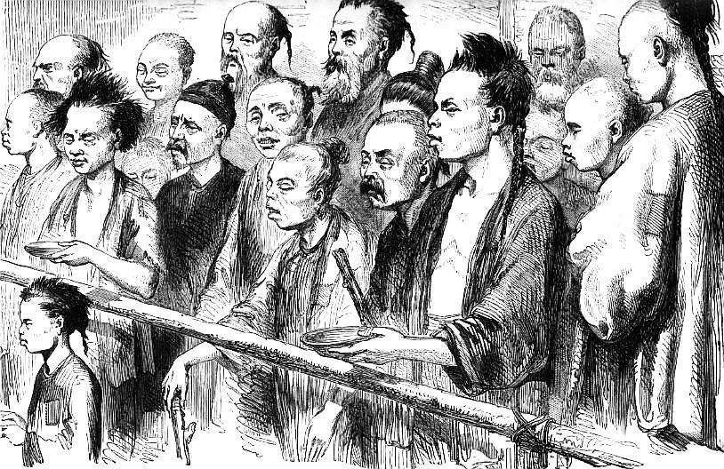 Les Barracons : les coulies avant le départ. Ludovic de Beauvoir (1846-1929) : Voyage autour du monde... La Chine. Plon, Paris, 3 tomes 1867-1872.