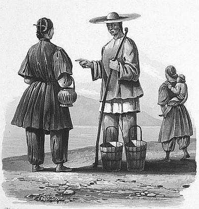 Hommes et femmes du peuple. C. Laplace (1793-1875) : la CHINE, dans : Voyage autour du monde sur la Favorite (1830-1832). Et de : Campagne de circumnavigation de la frégate l'Artémise (1837-1840).