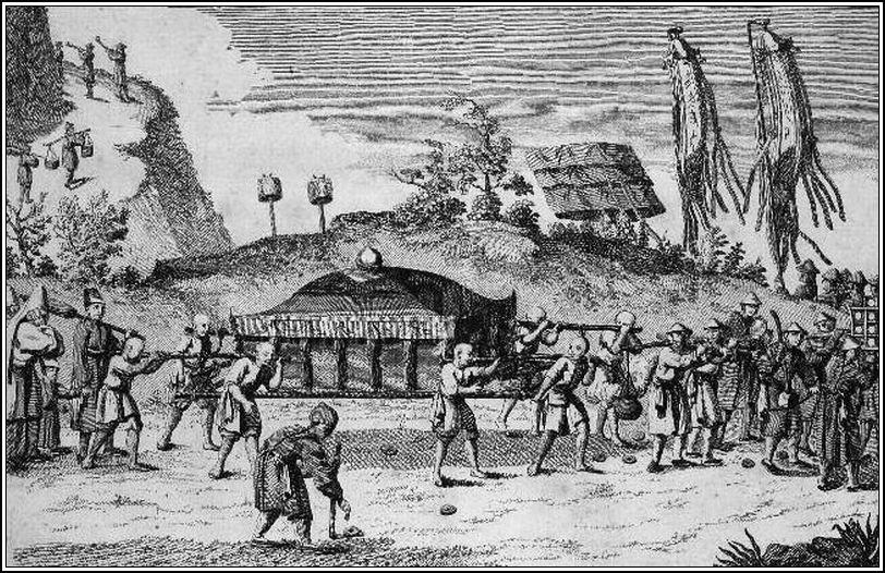 """Convoi.  Planche extraite de """"Voyage aux Indes orientales et à la Chine, fait par ordre du Roi, depuis 1774 jusqu'en 1781"""". Pierre Sonnerat (1748-1814), Paris, 1782."""