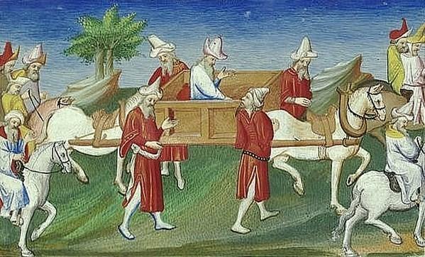 Seigneurs se rendant à la cour du grand khan. — Miniature du Livre des Merveilles.