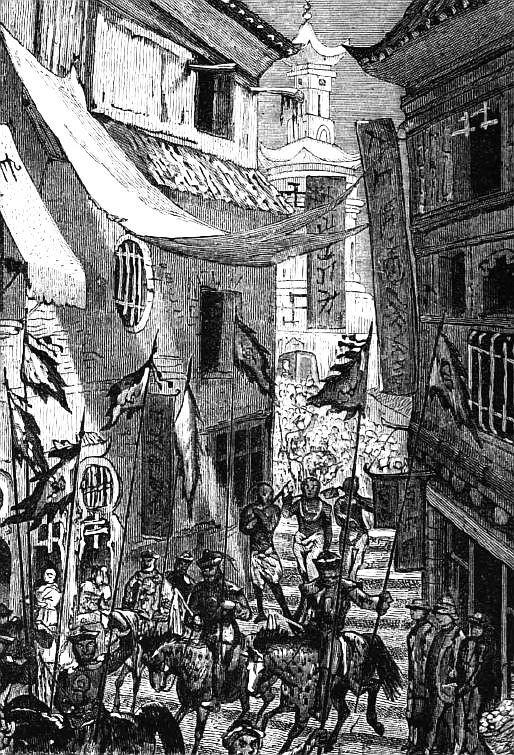 Nous croisons le cortège du vice-roi dans une rue étroite et glissante. Ludovic de Beauvoir (1846-1929) : Voyage autour du monde... La Chine. Plon, Paris, 3 tomes 1867-1872.