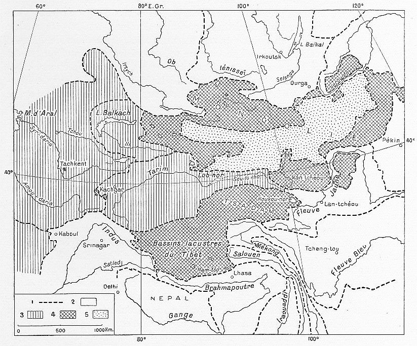 Hydrographie de la Haute Asie.Fernand Grenard (1866-1942) : Haute Asie. [Mongolie, Turkestan chinois, Tibet]. Deuxième partie du tome VIII de la Géographie Universelle. Armand Colin, Paris, 1929.