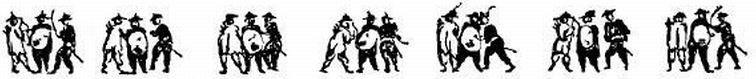 Exercice de ceux qui sont armés du sabre et du bouclier, mêlés avec les pertuisaniers et les arbalétriers