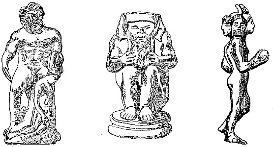 Polyphonie. Satyre accroupi [sternophtalme]. Hermès quadricéphale. Fernand de Mély (1852-1935) : Le « De Monstriis » chinois. Revue archéologique, 1897.