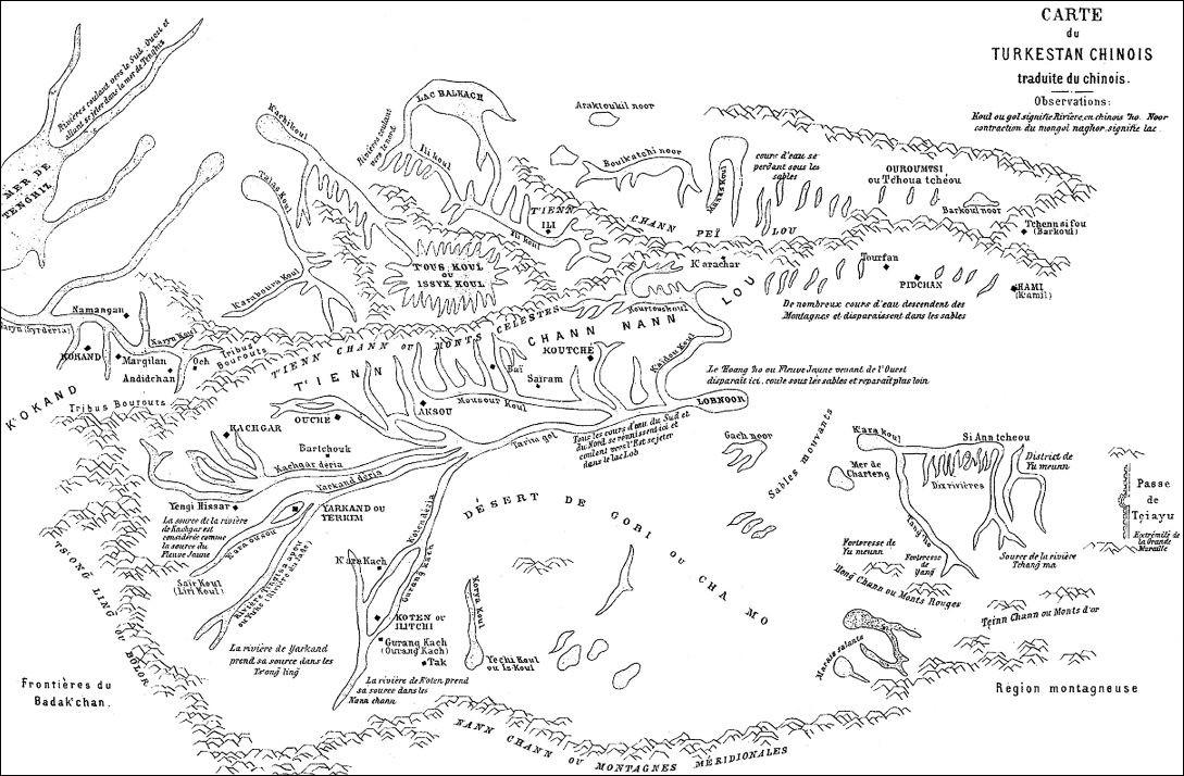 La carte qui accompagne notre travail est traduite du Si yu t'ou tché, description historique et géographique du Si yu (Asie centrale).