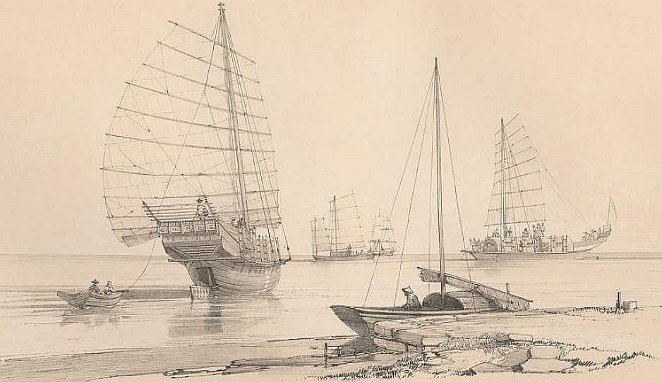 Bateau servant au transport du thé (vues par l'arrière et par le travers).
