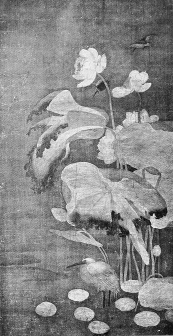 Lotus, héron blanc et martin-pêcheur. Extrait de : Laurence BINYON (1869-1943) : Painting in the Far East.