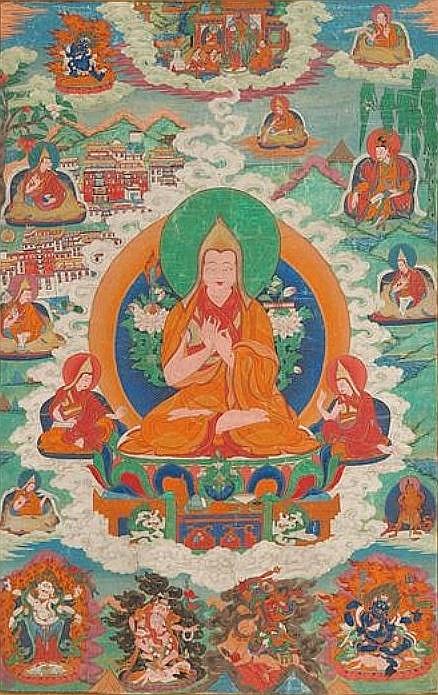 Joseph Hackin (1886-1941) : Mythologie du lamaïsme (Tibet) — Mythologie asiatique illustrée, Librairie de France, Paris, 1928. Tsong Kha-pa et ses disciples.