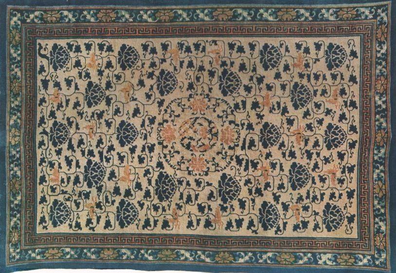 Robert Lockhart HOBSON. Cent planches en couleurs d'art chinois. Tapis de laine. Nœuds du genre Sehna, environ 60 au dmq. Trame et chaîne de coton. Fin du 18e s.