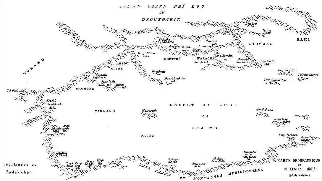 Carte orographique du Turkestan. C. Imbault-Huart, Recueil de documents sur l'Asie centrale