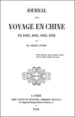 Couverture. Jules Itier (1802-1877) : Journal d'un voyage en Chine en 1843, 1844, 1845, 1846. — À Paris, chez Dauvin et Fontaine, libraires-éditeurs. Trois tomes.