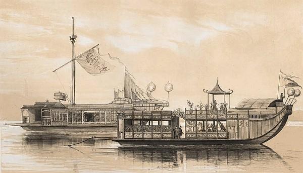 Bateau de plaisance de Canton. François-Edmond PARIS (1806-1893) : Essai sur la construction navale des peuples extra-européens.  Arthus Bertrand, libraire, Paris, 1841.