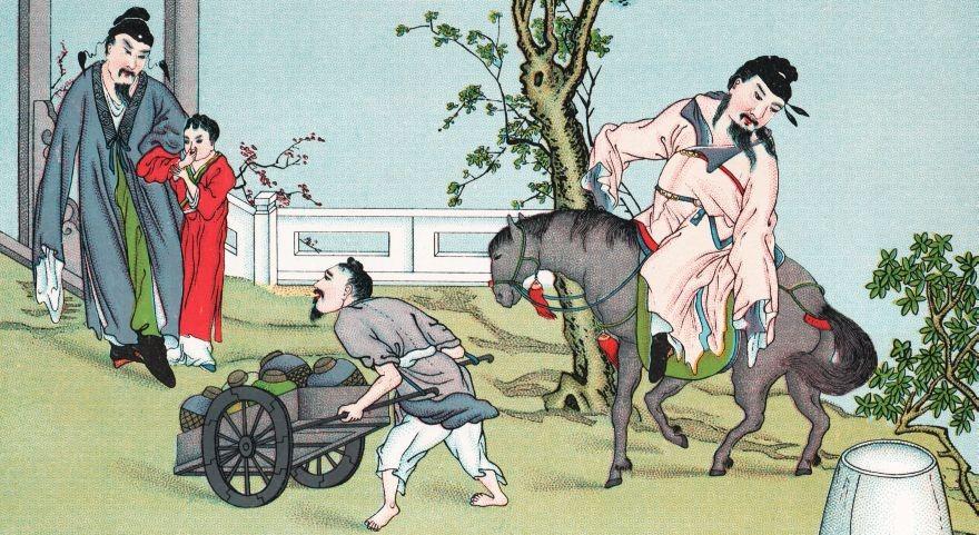 A gauche, Li-tsing, prince de Jou-yang, fils aîné du consort de l'usurpatrice Ou-heou, veut ici faire ouvrir des jarres de vin. Aimable et joyeux jeune homme, grand buveur, il devint même si célèbre dans la partie, qu'on le surnomma le prince du ferment.