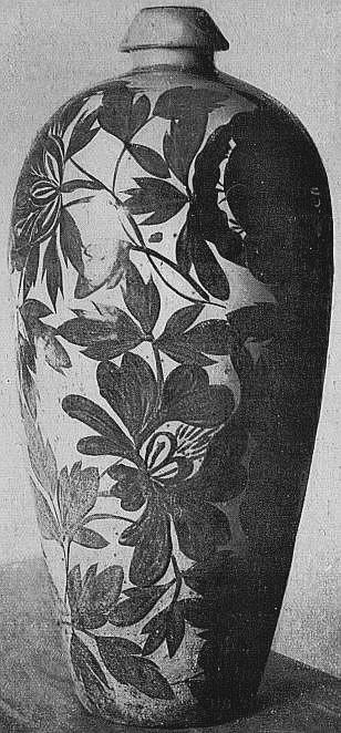 Vase à décor peint brun sur fond crème. Fabrique de Tseu-yao. Marie-Juliette Ballot. Petite histoire de la porcelaine de Chine.