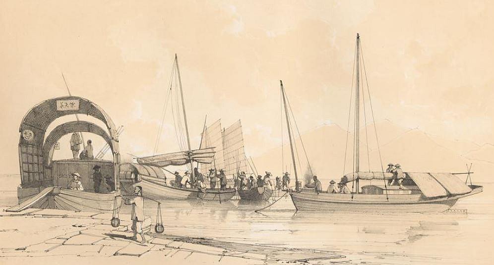 Divers bateaux des environs de Canton.