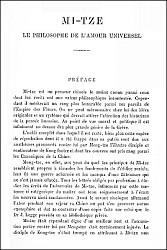 Charles DE HARLEZ (1832-1899) : Mi-tze, le philosophe de l'amour universel