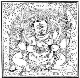 150. Mahâkâla, le protecteur de la science. Albert Grünwedel (1856-1935) : Mythologie du bouddhisme au Tibet et en Mongolie. — Éditions Ernest Leroux, Paris, 1900. 188 illustrations.
