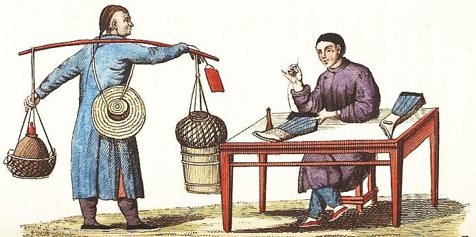 Bas et vipères. Jean-Baptiste Breton de la Martinière (1777-1852) : La Chine en miniature, ou choix de costumes, arts et métiers de cet empire. — Nepveu, libraire, Paris, 1811.