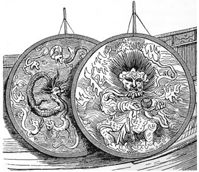 Décoration. Old Nick [Émile Daurand-Forgues (1813-1883)], et Auguste Borget (1807-1877) pour les illustrations : La Chine ouverte. Aventures d'un fan-kouei dans le pays de Tsin. — Fournier, éditeur, Paris, 1845.