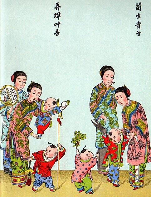 Aux jeunes mariés. Explication : Tsao (branche de jujubier), Cheng (instrument de musique) et Tse (enfants). Tsao chen tse en langage vulgaire, signifie : Engendrez vite des enfants.