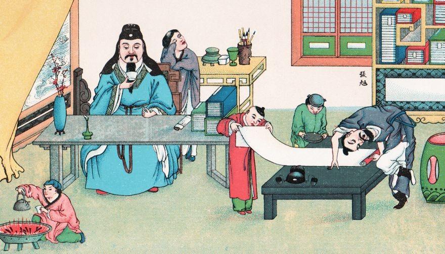 A gauche,Tsiao-soei puise sa verve au fond d'un verre de vin. Muet quand il était à jeun, pétillant d'esprit après boire. Quand il avait bu cinq pintes d'eau-de-vie, les réparties jaillissaient de son esprit comme l'écho suit le son.