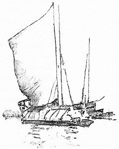 Bateau chinois 1. Illustration de Mortimer Menpes (1855-1938), China, 1909.