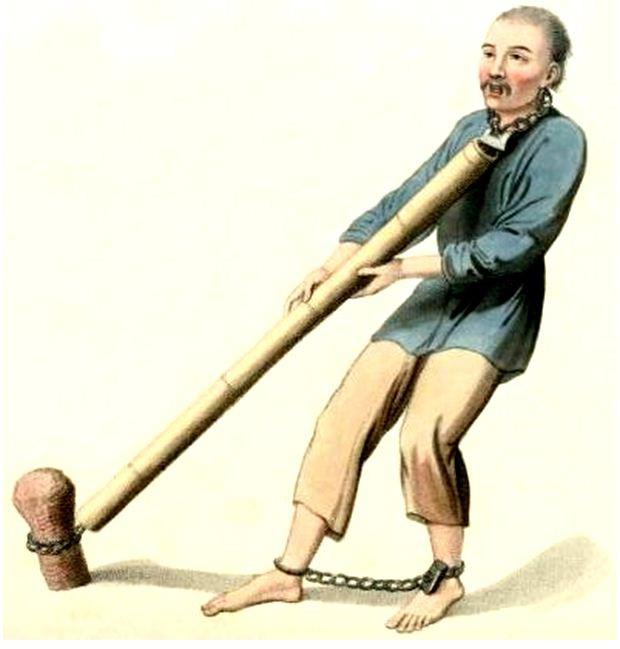 Les punitions des Chinois. Texte de George Henry Mason. Gravures de J. Dadley. G. Miller, Londres, 1801.16. Supplice du tube de bois.
