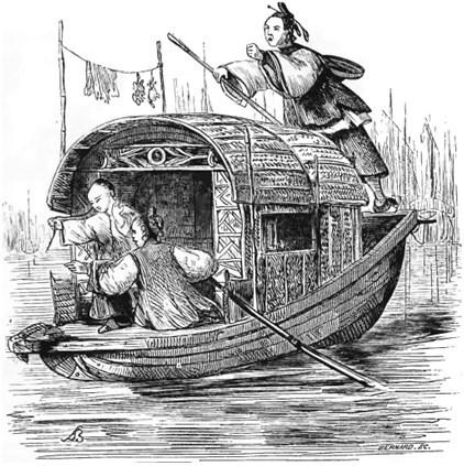 Femme. Old Nick [Émile Daurand-Forgues (1813-1883)], et Auguste Borget (1807-1877) pour les illustrations : La Chine ouverte. Aventures d'un fan-kouei dans le pays de Tsin. — Fournier, éditeur, Paris, 1845.