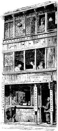 Rue. Old Nick [Émile Daurand-Forgues (1813-1883)], et Auguste Borget (1807-1877) pour les illustrations : La Chine ouverte. Aventures d'un fan-kouei dans le pays de Tsin. — Fournier, éditeur, Paris, 1845.