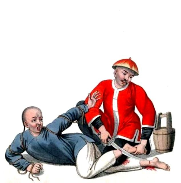 Les punitions des Chinois. Texte de George Henry Mason. Gravures de J. Dadley. G. Miller, Londres, 1801. 17. Supplice de couper le jarret à un malfaiteur.