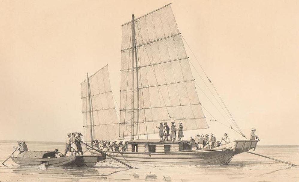 Bateau de passage de Canton à Macao et canot servant au transport du poisson.