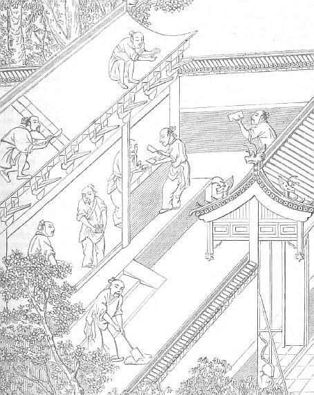 Construction d'une maison chinoise.Relation des voyages faits par les Arabes et les Persans dans l'Inde et à la Chine. Trad. J.-T. Reinaud. Imprimerie royale, Paris, 1845.