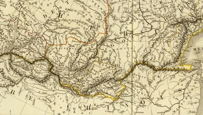 Carte de Brue, 1821. Jean BELL d'Antermony (1691-1780) : Voyages depuis St Petersbourg en Russie dans diverses contrées de l'Asie,... à Pékin, à la suite de l'ambassade envoyée par le Czar Pierre I, à Kamhi, Empereur de la Chine.