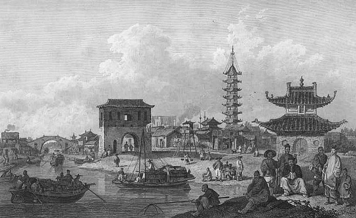 Les faubourgs d'une cité chinoise.