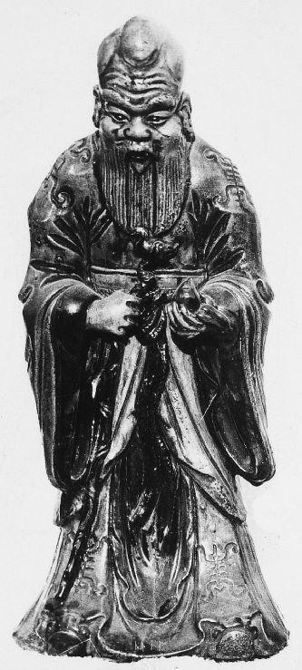 336. — Pékin. Statuette en porcelaine K'ang-si-san-ts'aé, représentant le dieu de l'immortalité Lao Cheou Sin.