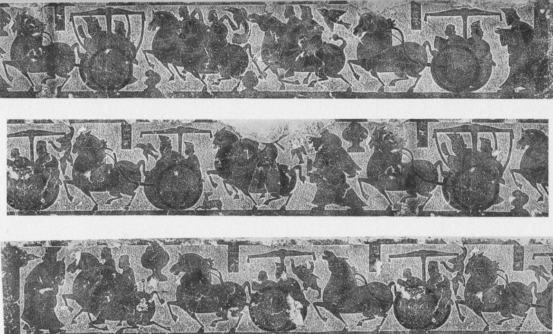 XXVIII. Sculpture ciselée, quatrième pierre des chambrettes antérieures de Wou Leang-ts'eu.  Époque Han (IIIe siècle av. J.-C. — IIIe siècle ap. J.-C.).